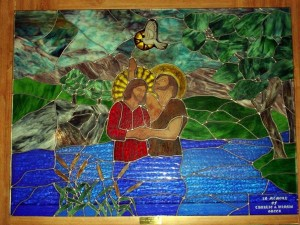 Baptism mural Destroyed in move. In Memory of Charlie & Winnie Greer